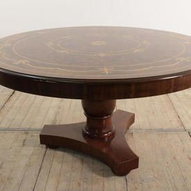 5' Mahogany inlaid Centre Table with Large Pedestal Base