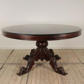 5' Mahogany Circ Centre Table with Carved Mahogany Pedestal Base