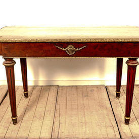 """4'4"""" Rect  Walnut Centre Table with Brass Decor on Fluted Legs"""