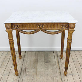 """2'6"""" Carved Gilt Reeded Leg Centre Table with Rect  Marble Top"""