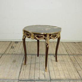 "Circ  2'6"" Diam  Mahogany & Gilt Bronze Centre Table with Marble Top"