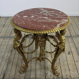 "2'4"" Brass Centre Table with Winged Lady Figures & Pink Marble Top"