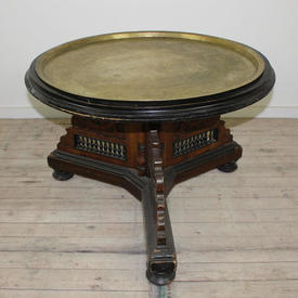 2'9 Circular Oak & Ebony Centre Table with Brass Plate inset Top
