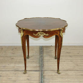 """2'8"""" Kingwood Centre Table with Sunray Top, Brass Edged with Gilt Bronze Mounts"""