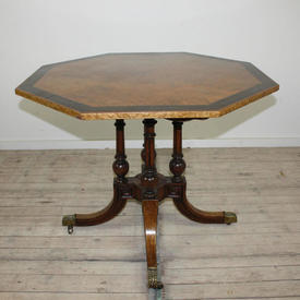 3' Birdseye Maple, Mah Banded Octagonal Regency Style Centre Centre Table, Sabre Legs