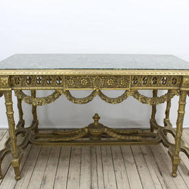 """5'2"""" Rectangular Gilt Centre Table with Green Marble Top"""