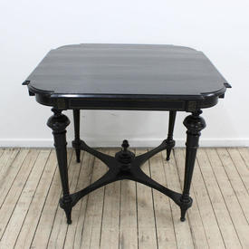 Ebonised Ornate Square Centre Table with Cross Base