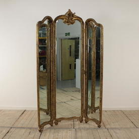 Carved Gilded 3 Fold 7' Floor Standing Cheval Mirror with 6  x  Pins  (***Don'T Forget The Pins***)