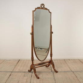 Satinwood And Gilt Cheval Mirror