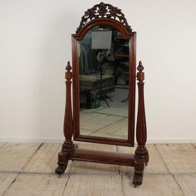Mahogany Victorian Scroll Top Cheval Mirror