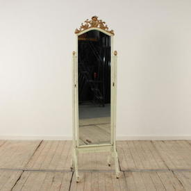 Narrow Painted  Scroll Top Cheval Mirror