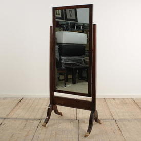 Mahogany Cheval Mirror on Brass Claw Feet
