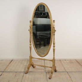 Gilt Oval Shaped Cheval Mirror