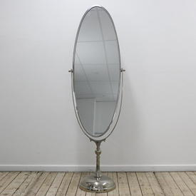 Chrome Oval Floorstanding Cheval Mirror