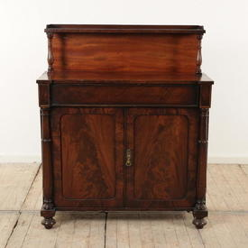 Mahogany Regency 1 Drawer/2 Door Turned Column Top & Bottom Chiffonier