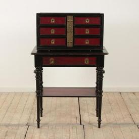 Red & Black 7 Drawer Cigar Cabinet with Under Shelf