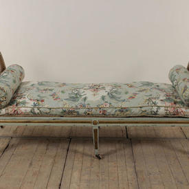 Green & Gilt Framed Double End Day Bed, with Seat Swab in Floral Decor, 2  x  Matching Bolsters