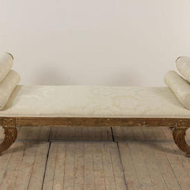 Gilt Roll Arm Eagle Pattern Double Ended Daybed in Cream Damask with 2 Bolsters