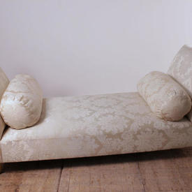 Double Ended Day Bed in White Damask with Two Bolsters