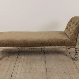 French Day Bed in Grey Damask