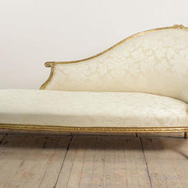 Gilt Chaise Lounge Upholstered in Off White