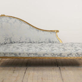 Giltwood Frame Chaise Lounge Upholstered in Pale Blue Silk Damask