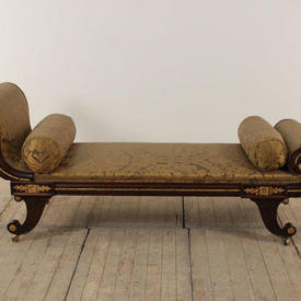 Mahogany And Gilt Regency Double Ended Daybed in Brown & Gold Silk Damask & 2 Bolsters