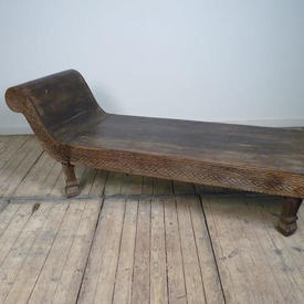 5' Wooden Daybed with Decorative Carved Sides