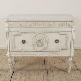"3'8"" White Painted Single Drawer French Commode"