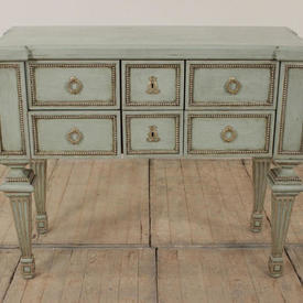 "3'10"" Green & Silver Painted French 6 Drawer Commode"