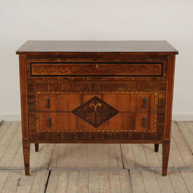 "3'5"" Mahogany inlaid 3 Drawer Commode"