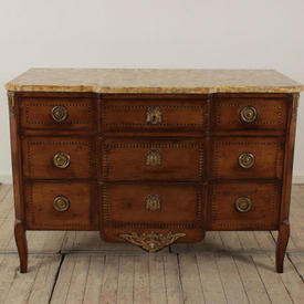 "4'3"" Oak And Brass inlaid 3 Drawer Commode with Marbled Top"