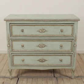 "3'3"" Green & Silver Painted 3 Drawer Commode"