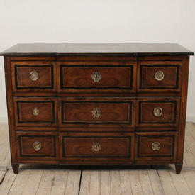 "4'3"" Mahogany And Black 3 Drawer Commode with Ring Handles"