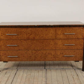 "5'7"" Rosewood & Silver Deco 3 Drawer Commode"