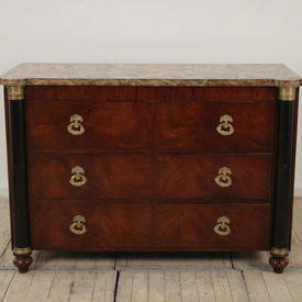 "4'4"" Mahogany Empire Style 3 Drawer Commode with Brass Decor Handles, Green Marbilised Top"