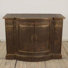 "3'10"" Brass Embossed Bow Front 2 Door Commode (C)"