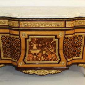 "5'9"" 5-Drawer Kingwood Marquetry inlaid Commode with Ornate Gilt Bronze Detail & White Carrara Marble Top"