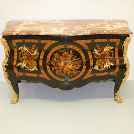 5' Rosewood & Kingwood inlaid, Ormolu Decor 2-Drawer Commode with Pink Marble Top