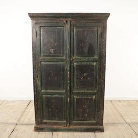 Green Painted Weathered Effect 2-Door Corner Cabinet