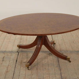 4' Yew Wood Oval Coffee Table on Regency Pedestal Base