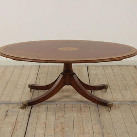 4' Mahogany & Satinwood Regency Style Oval Coffee Table