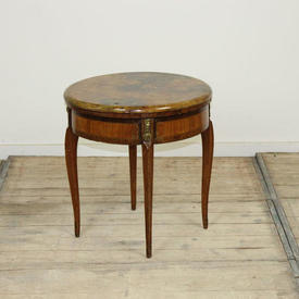 Mahogany Louis Style Circular Coffee Table with Painted Marble Effect Top