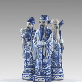"""13"""" Chinese Blue & White Porcelain Figure Holding Article"""