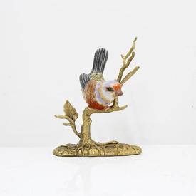 """5"""" China Bird Ornament on Brass Branch (H14cm)"""