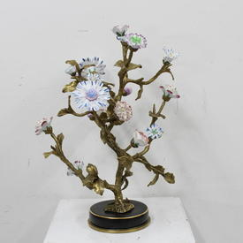 43cm Ornate Porcelain Flowers on Brass Tree Ornament