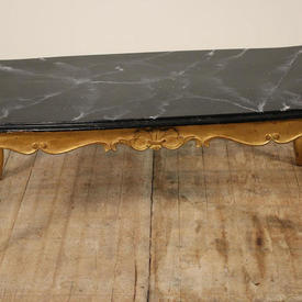 """3'10"""" Rectangular Gilt Louis Style Coffee Table with Marbleised Top"""