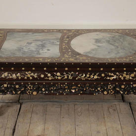 """2'7"""" x  18"""" Mother Of Pearl inlaid Moorish Coffee Table with Marble inset"""
