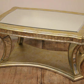 """3'4"""" x  2'2"""" Gold Gilded Shaped Leg & Top Coffee Table with Clear Glass insert Top"""