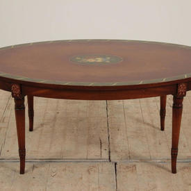 """3'6"""" Mahogany Oval Coffee Table with Green Floral Painted Medallion & Border"""